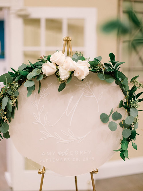 Wedding Sign with Wreath | Round Painted Acrylic