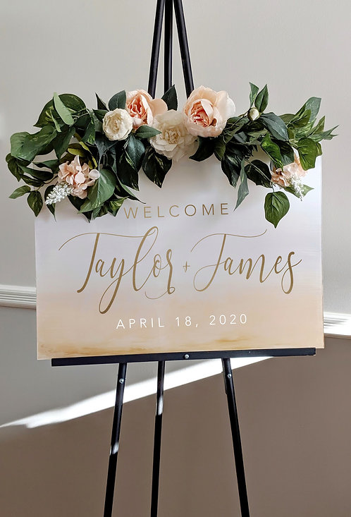 Gold and White Gradient Wedding Welcome Acrylic Sign