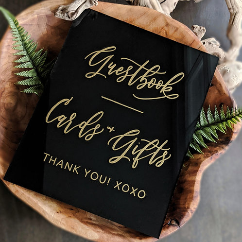 Guestbook and Cards + Gifts Acrylic Sign