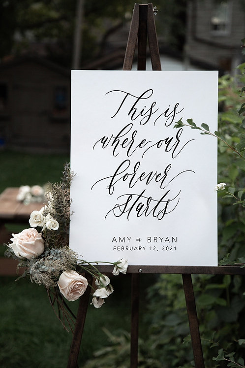 This is Where Our Forever Starts Wedding Sign | Acrylic