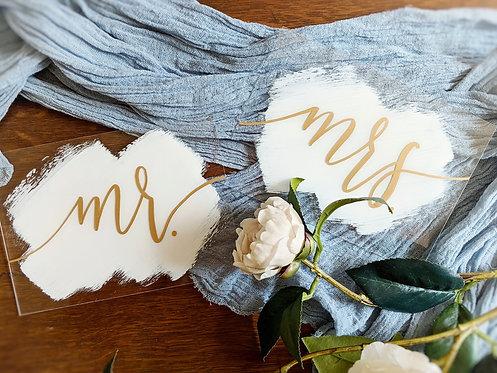 Mr & Mrs Table Sign Set | Brushed Acrylic