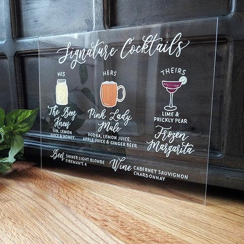 Signature Cocktails Sign | 3 Cocktails