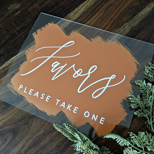 Favors Brushed Acrylic Sign
