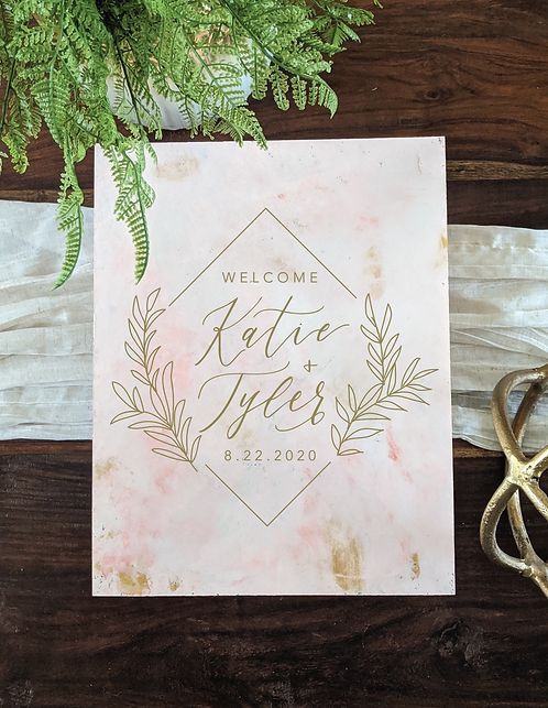 Geometric Welcome Painted Marble with Blush and Gold | Acrylic