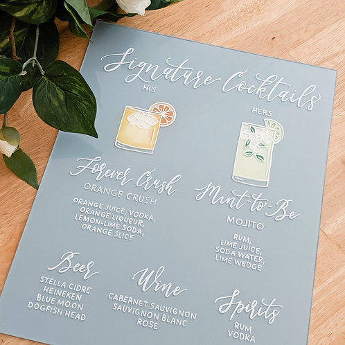 Bar Menu with 2 Signature Cockails | Solid Painted Back