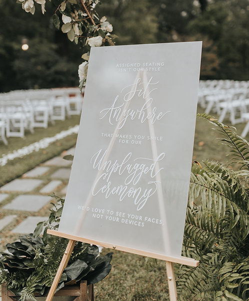 Seating Unplugged Ceremony Sign | Painted Acrylic