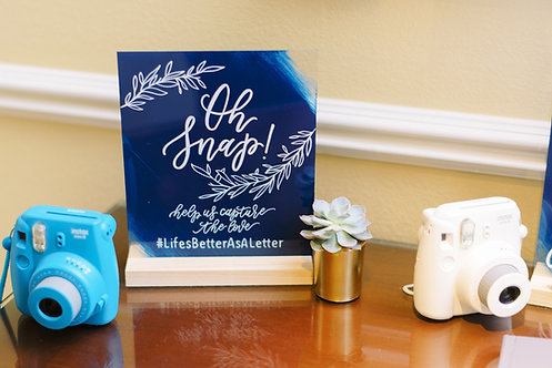 Oh Snap Help Us Capture the Love | Wedding Hashtag Acrylic Sign