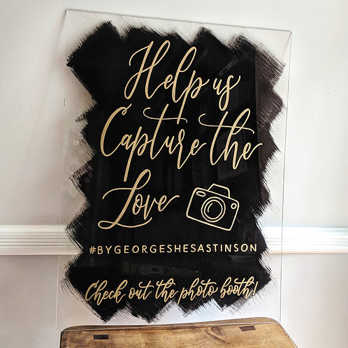 Large Help Us Capture the Love Sign | Photo Booth Sign | Brushed Acrylic