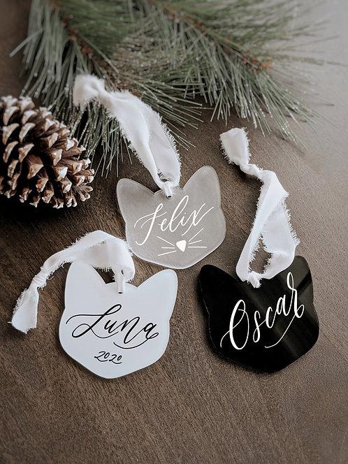 Cat Acrylic Christmas Ornament/Tag