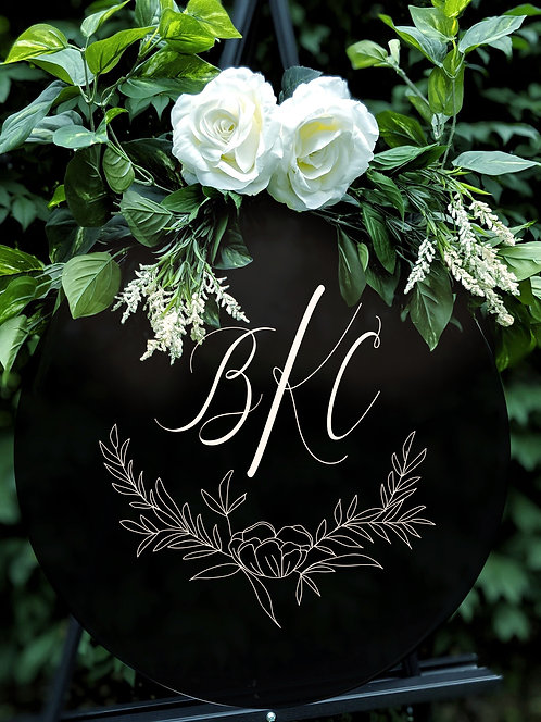 Initials Wedding Sign with Wreath | Round Solid Acrylic