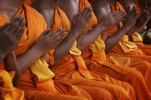 Monjes budistas vestidos de color naranja