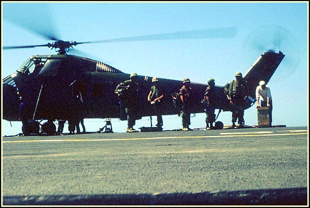Marines and mortar ammo about to board.J