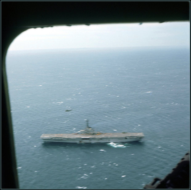 USS Princeton through the window of a ch