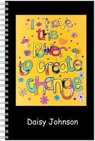 Notebook - Personalised - A5 Size - I have the power to create change (yellow)