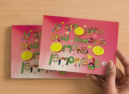 10 A6 size Postcards - If life gives you lemons, make lemonade