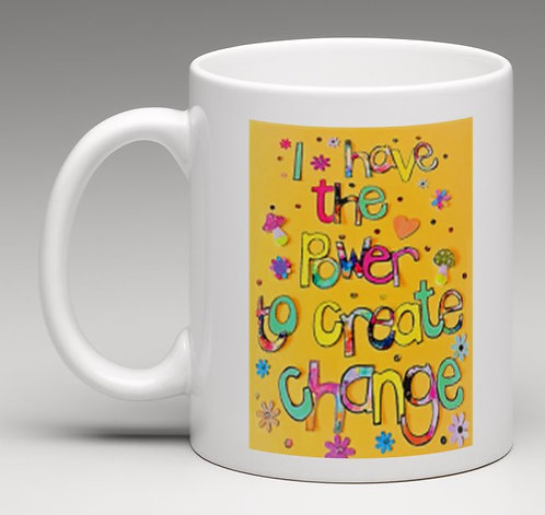 Mug personalised-positive affirmation: I have the power to create change-yellow