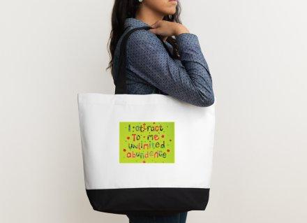 Shoulder bag - Positive affirmation - I attract to me unlimited abundance