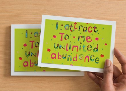 10 A6 size Postcards - I attract to me unlimited abundance