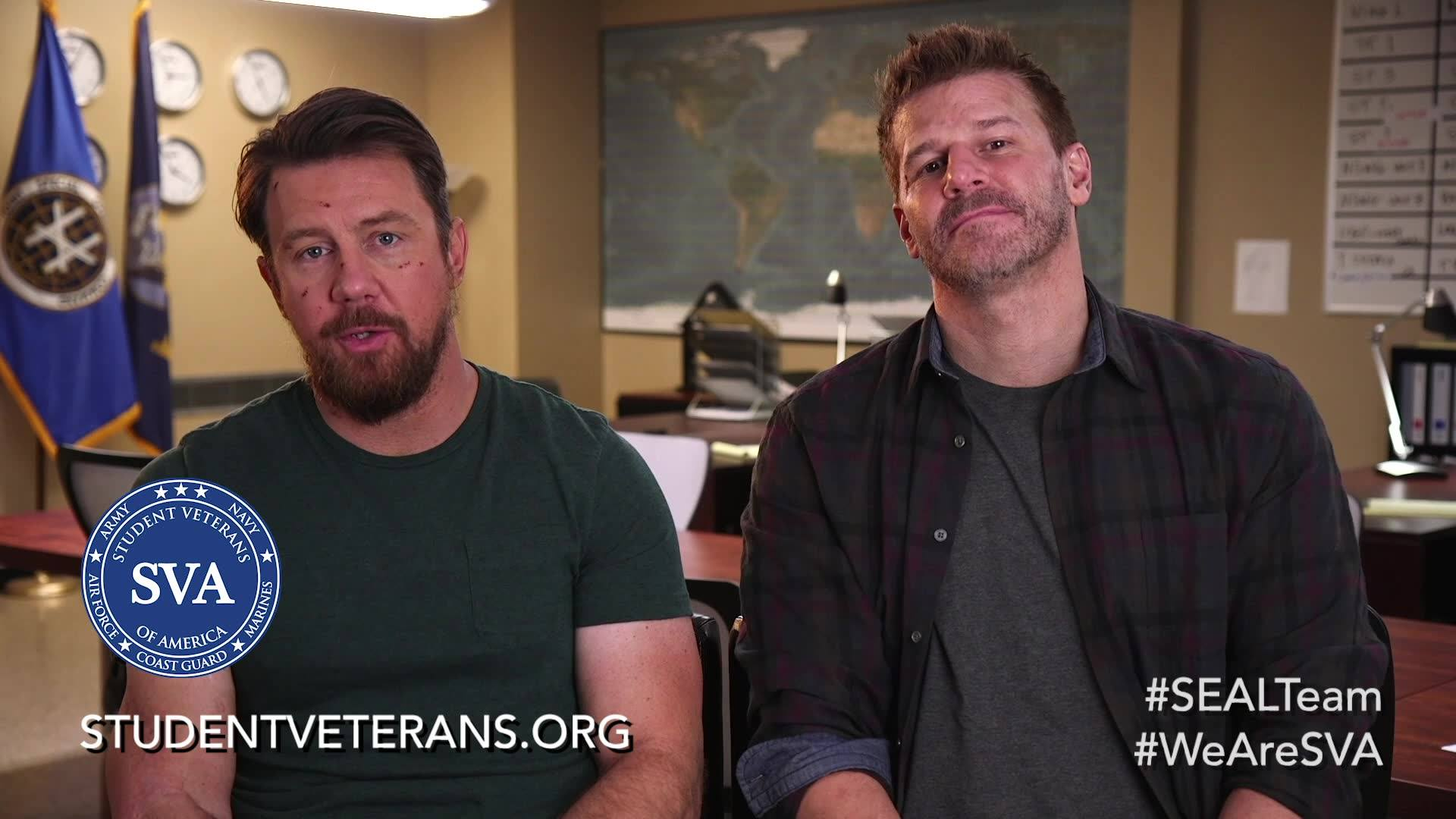 David Boreanaz and Tyler Grey of SEAL Team join Student Veterans of America to bring you an important message this Veterans Day. Visit studentveterans.org to learn more. #WeAreSVA #GIBillGrad #SEALTeam