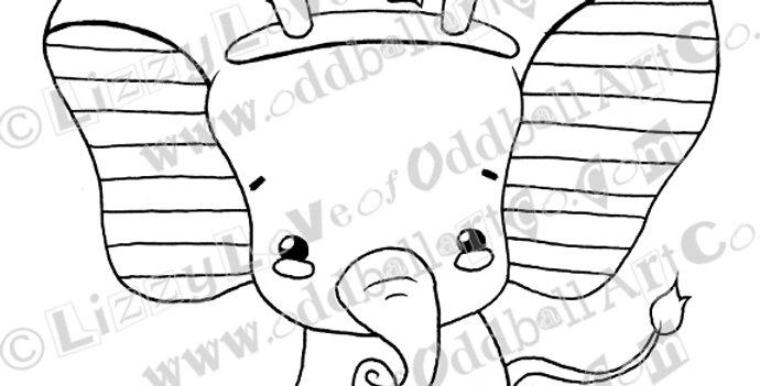 Printable Stamp Kawaii Christmas Baby Elephant w/ Antlers Download Image No 133