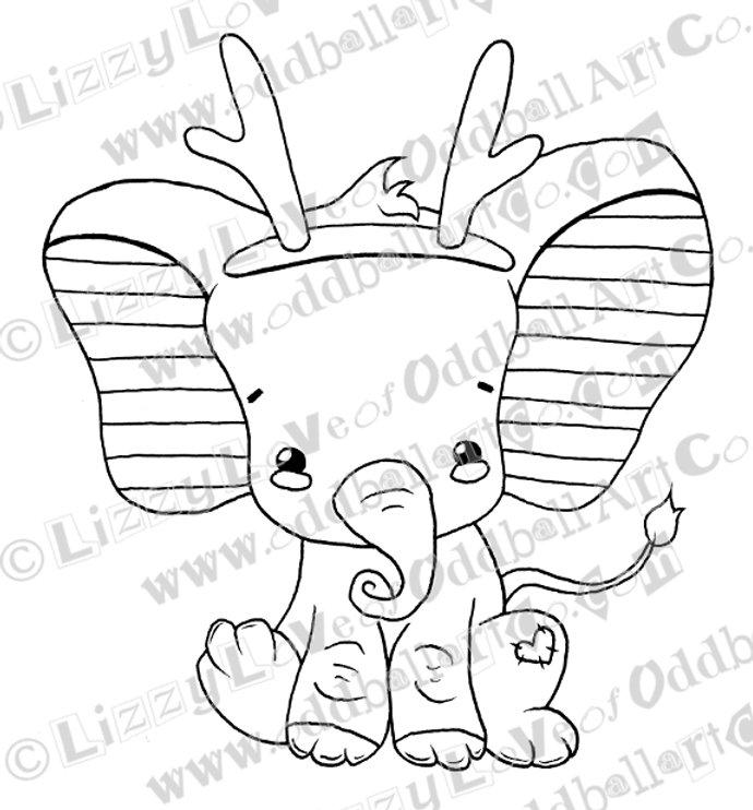 photo regarding Printable Antlers known as Printable Stamp Kawaii Xmas Kid Elephant w/ Antlers Down load Graphic No 133