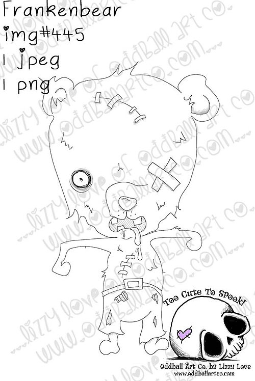 Digital Stamp Creepy Cute Zombie Bear Frankenbear Image No. 445