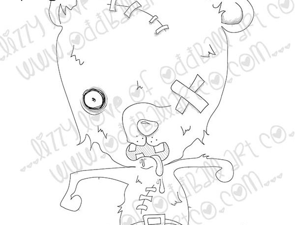 Digital Stamp Creepy Cute Zombie Bear Frankenbear Image No. 445