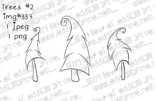 Digital Stamp Whimsical Dancing Trees Set #2 Image No.337