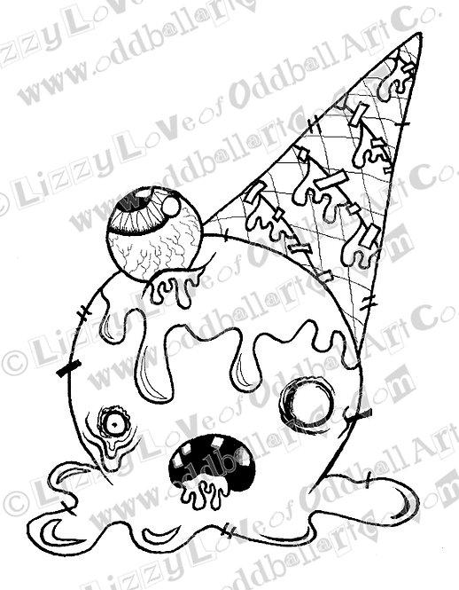 Digital Stamp Kawaii Kowai Zombie Icecream Eyes Scream Headache Image No. 145