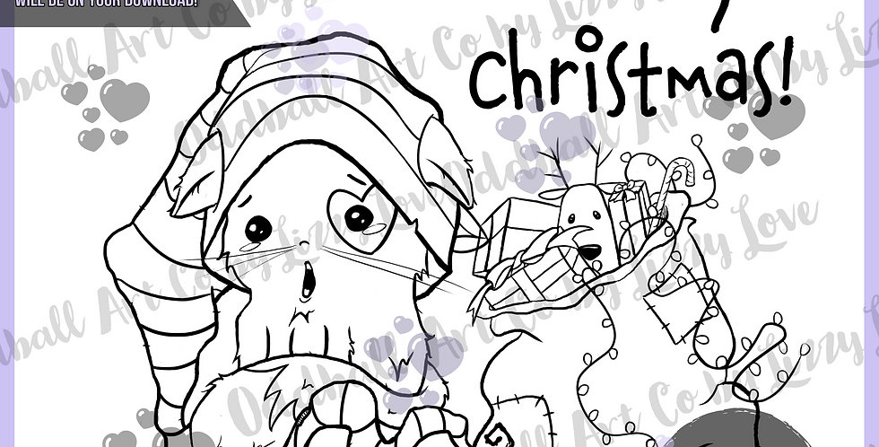 Digistamp Cute Christmas Elf Cat Digital Stamp IMG# 542
