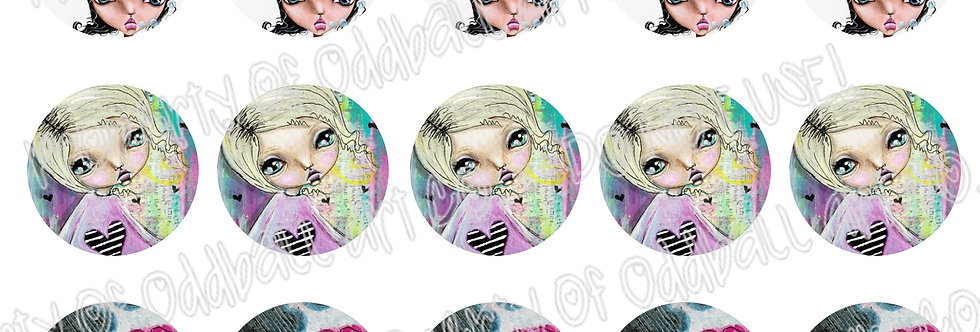 Bottlecap Images Digital Collage Sheet 1 Inch Circles ~ Dreams