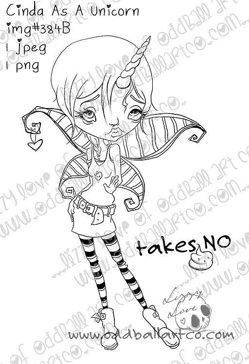 Digital Stamp Big Eye Punk Unicorn Fairy Cinda Image No. 384