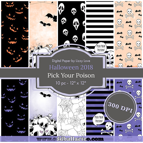 Digital Paper Halloween 2018 10pc Pick Your Poison 12x12 300dpi by Lizzy Love