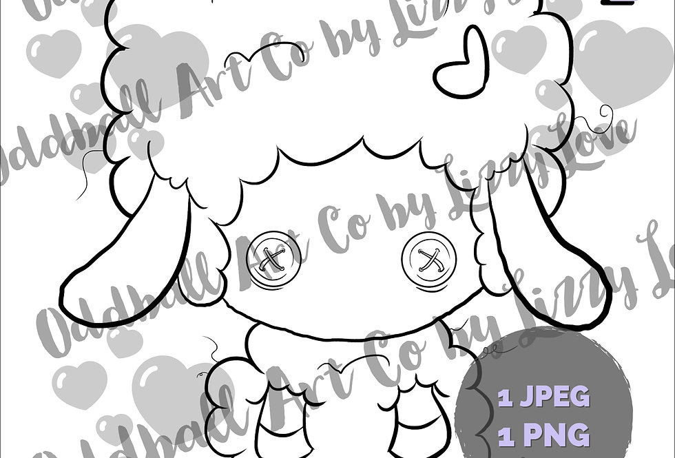 Digi Stamp Cute Curly-Sue Sheep with Button Eyes Image 516