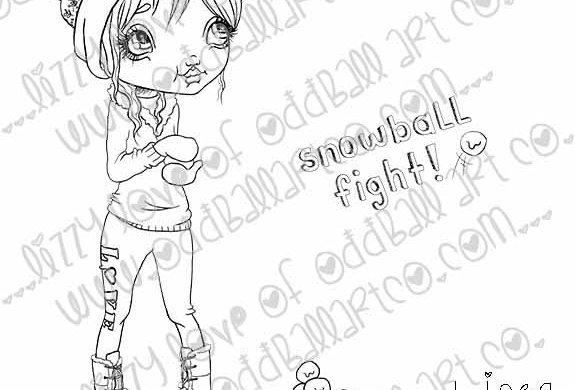 Digital Stamp Big Eye Girl Winter Snowball Fight Tia the Ice Queen Image No. 263