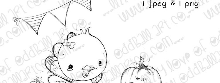 Digital Stamp Whimsical Thanksgiving Kawaii Turkey Mrs. Ted Image No.344