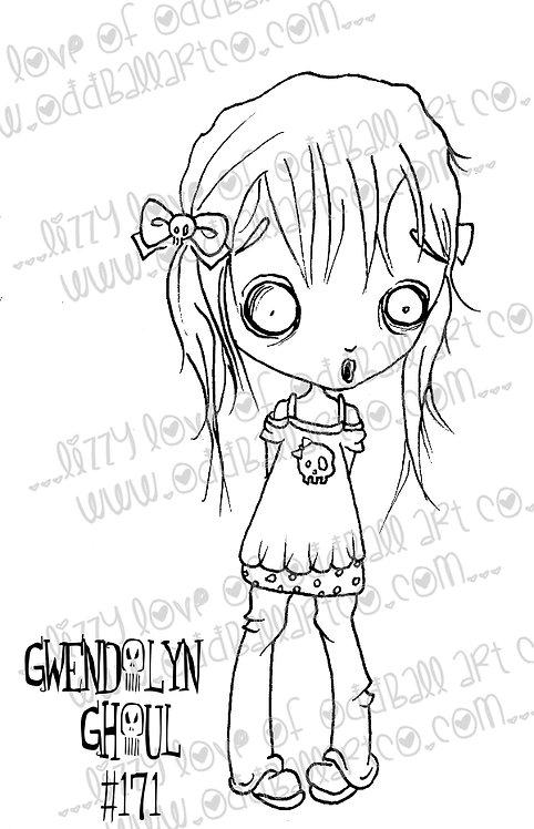 Digital Stamp Spooky Big Eye Art Gwendolyn Ghoul Image No.171