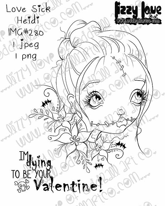 Digital Stamp Creepy Cute Valentines Day Love Sick Heidi Image No. 280