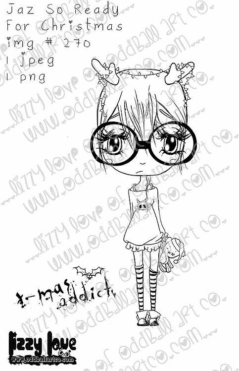 Digital Stamp Kawaii Christmas Chibi Girl Jaz So Ready for Xmas No. 270