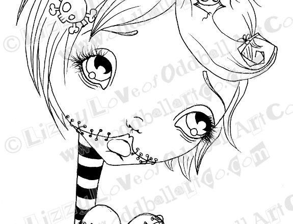 Digi Stamp Creepy Cute Zombie Blood Thirsty Becca Img# 103