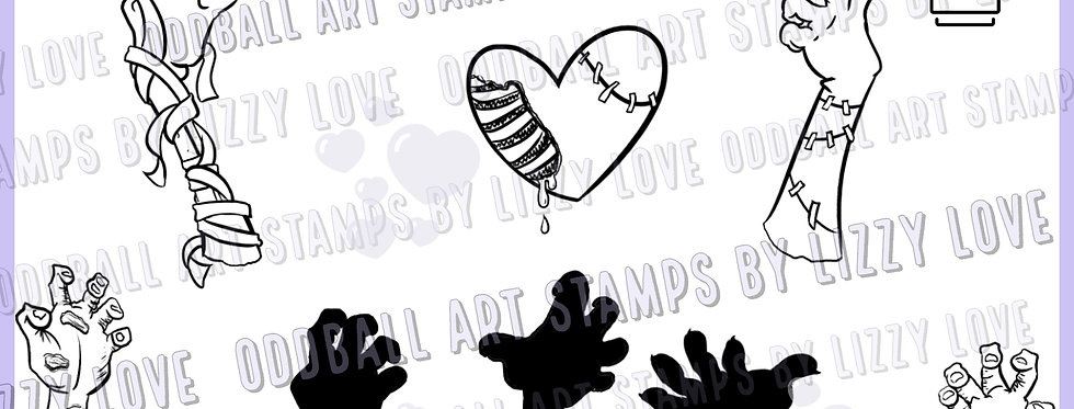 Digi Stamp Creepy Cute Zombie Hearts & Hands Image 533