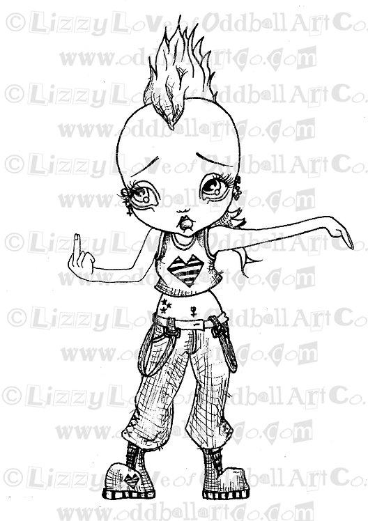 Digital Stamp Big Eye Mohawk Punk Girl Peace & ... Image No. 61