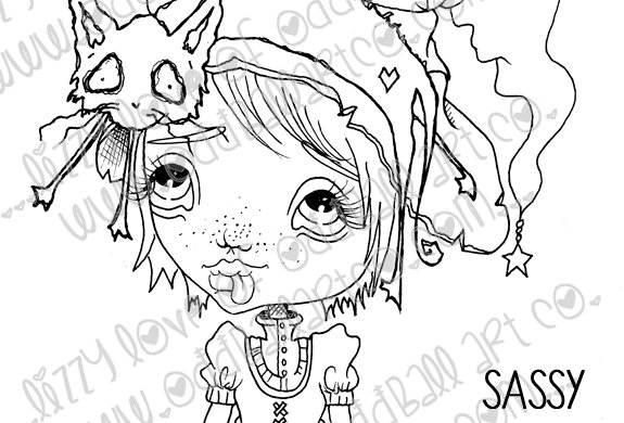Digital Stamp Creepy Cute Big Eye Witch Girl Sassy & Sissy Cat Image No. 81