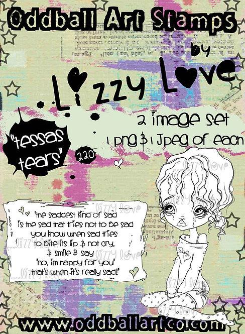 Digital Stamp Whimsical Big Eye Sad Girl Tessa Tears Image No. 220