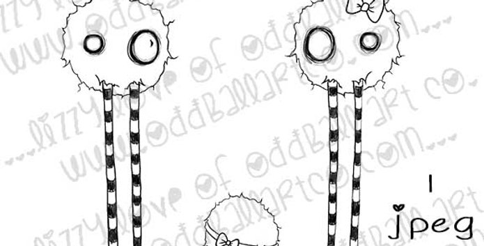 Digital Stamp Creepy Cute Monster Family Stamp The Jones Image No.332