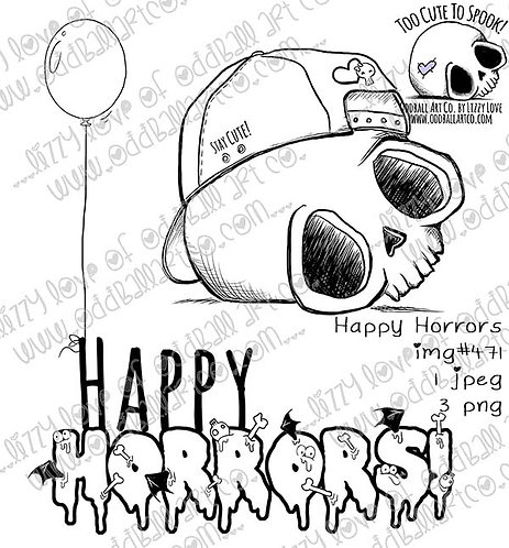 Digi Stamp Creepy Cute Skull & Ball Cap Happy Horrors Balloon Image No 471