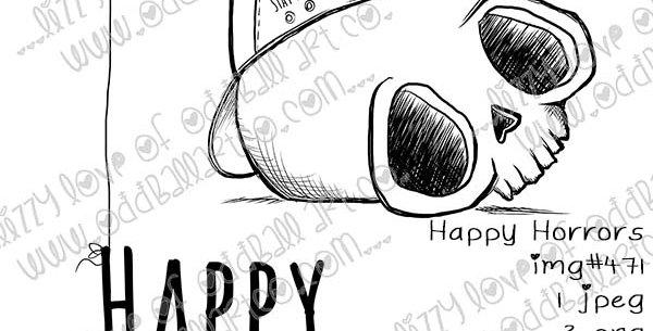 Digi Stamp Creepy Cute Skull & Ball Cap Happy Horrors Balloon Image No 471