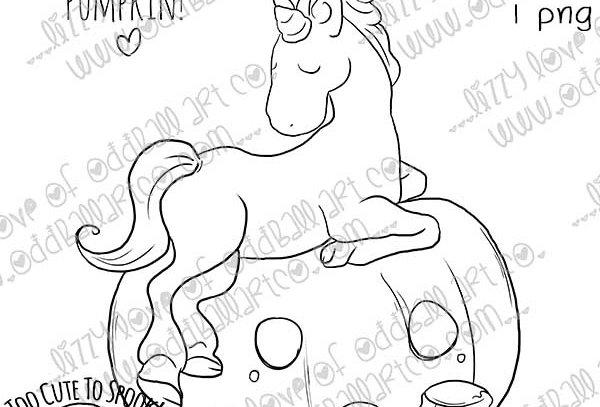 Digi Stamp Sassy Unicorn Painting Pumpkins Image #472