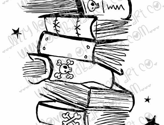 Printable Stamp Spooky Book Stack Digital Download Image No 199