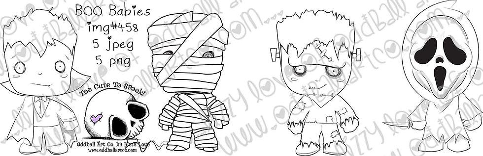 Printable Stamp Creepy Cute Boo Babies Monsters Image No 458